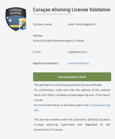 bitcasino license